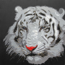 Handmade white Tiger Oil Painting for wall decoration