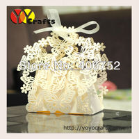 Unique Laser Cut Glitter Paper Flying Butterfly Favor Box Wedding Decorations