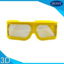 Grande taille jaune cadre polarisées passive3d lunettes usage pour 4d, 5d, 7d, 9D cinéma