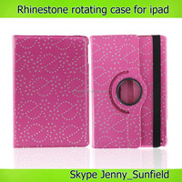 Tablet case rhinestone 360 rotating leather case for ipad air mini, for ipad case leather