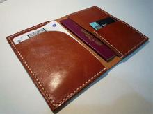 Hot sell 2015 men genuine leather travel organizer passport holder wallet with many card slots