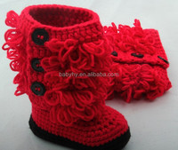 MOQ 1 set baby wool shoes and crochet baby headband