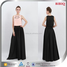 High Quality Sleeveless Beaded Maxi Skirt Pink and Black Women Wear
