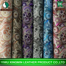 India flower printing pvc artificial leather for bag