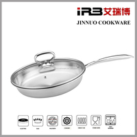 10 inch Non-Stick Skillet TRI-PLY stainless steel frying pan korean cookware with glass lid