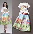 Qaulity top nouvelle mode 2015 printemps, été, femmes tailleur jupe belle impression t- shirt. blanc, tee+digital imprimer un- jupe en ligne( 1set)