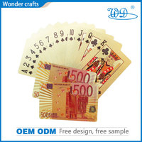Hot sale 500 EURO normal size full color printing pvc/pet material gold color famous brand playing card