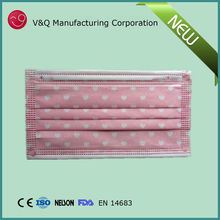 Disposable non woven 3 ply anti virus face mask with cartoon printing