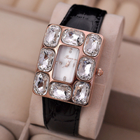 Rhinestone 3atm water resistant watch natural shell face luxury 18k gold genuine leather watch women