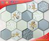 HLJ07 Seashell Resin Glass Mosaic Mix Hexagon Tiles Hexagon TilesHexagon Tiles Wall Decoration