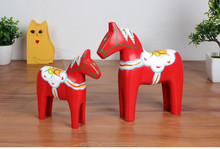 Exclusive original Nordic wood painted red horse for wedding gifts