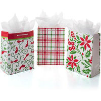 promotion high quality custom small size red and green gift paper bag with low price