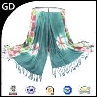 GDHH0121 Bandhnu pattern girls party dresses print tassels floral jersey scarf hijab