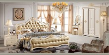 #680 pearl white gold leaf king/queen size bed 6PCS bedroom home furniture set leather bed night table dresser wardrobe