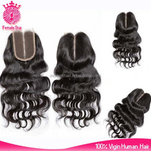 Female Star factory 4*4nch middle parting peruvian body wave lace closure