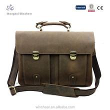 Personalizado moda barato pasta de couro seguro maleta de couro maleta para advogados com compartimentos