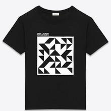 most popular ribbed collar printed black t shirt
