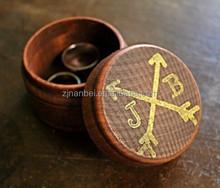 Custom antique gold logo wooden ring box,jewelry box