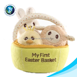 Lovely cute plush bunny easter gift bag with animal storage felt candy basket