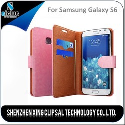 Cover case for samsung galaxy s6, flip leather case, leather flip case for samsung galaxy s6