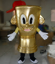 100% in kind shooting shining golden trophy mascot for advertising adult unisex trophy mascot