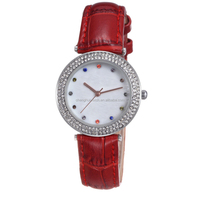 cheap price sexy fashion lady watch with diamonds and crystal good leather band