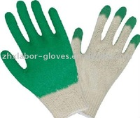 thirteen Gauge Polyester Latex Dipped Working Gloves,polyester natural latex,half coated, crinkle finished