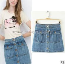fashion denim skirt pretty front pocket bodycon women skirt summer lady skirt