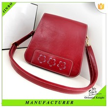 wholesale pu leather ladies messenger bag with hollow out flower pattern