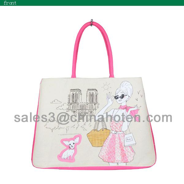 Eco-frienldy canvas pet dog handbag