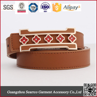 2015 newest Fashion Brand England PU lady's Belt for export metal buckle