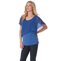 Ocean Blue Short Sleeve Viscose Chiffon Round Neck Custom Maternity Top for women