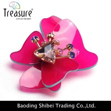 2015 China wholesale brooch ozel flower shape pink brooch rhinestone brooch