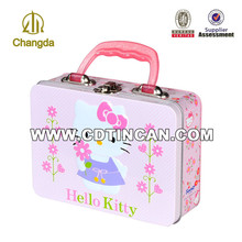 wholesale tin lunch box food packing with lock and handle
