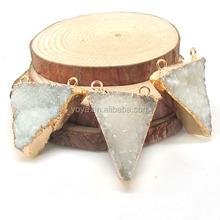 JF6610 Wholesale gold electroplated double bail white quartz druzy triangle pendant,drusy pendant