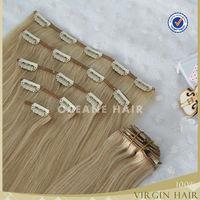 100% virgin human easy claw clip ponytail human hair extension,clip hair extension