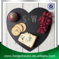 Factory Direct Sale Wholesale 30*30*0.5cm Laser Engraved Heart Shape Slate Dinner Plates For Weddings