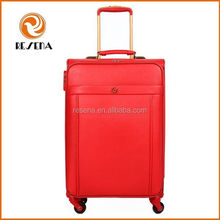 Red PU leather vintage leather suitcase/leather luggage
