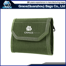 functional velcro closure millitary green color nylon folding wallet men with card holder