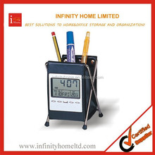 Office organizer kis plastic wholesale pencil case with calendar clock