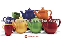 Porcelain Tea Set with Solid Color or Decal
