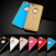 Hot Metal Bumper Gold Edge handmade mobile Phone Leather Case for iphone 6 plus