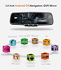 Android GPS navigation rearview mirror with 1080P Dual record dvr function & backup camera display