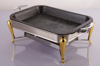 Barbecue traditional granite stone baking pan with frame non-stick grill