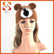 Newest design winter funny crochet bear beanie hat