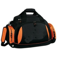 Outdoor orange with black polyester duffel bag/gym duffle bag