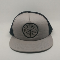 embroidered gray and black mesh dome snapnack cap