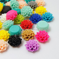 Mix 15mm Flat Back Resin Flower Cabochons for Jewelry 20pcs/bag(X-RB772Y)