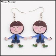 Newei 2015 New Fashion Jewelry Accessories Acrylic Cute Boy Pattern Dangle Cartoon Figure Drop Earrings For Girls