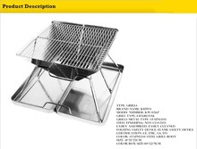 """Outdoor Camping 14"""" Stainless Steel BBQ Grill stand Portable Charcoal Barbeque Grill"""